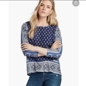 lucky brand border print top blue boho XL